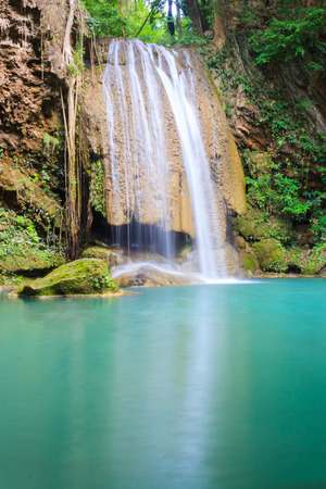 one level: third level of Erawan Waterfall in Erawan national park in Kanchanaburi, Thailand : one of the most famous place for holidays and relaxing