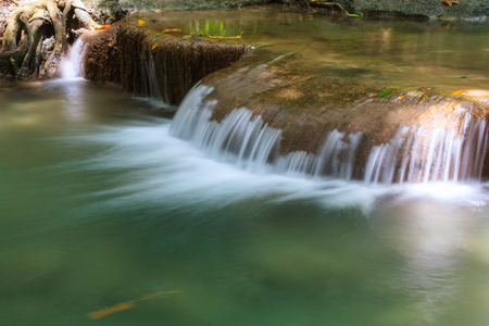one level: first level of Erawan Waterfall in Erawan national park in Kanchanaburi, Thailand : one of the most famous place for holidays and relaxing