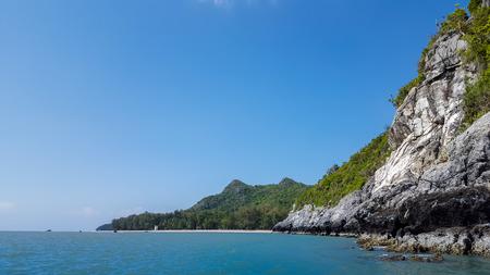 veiw: veiw of mountain and sea under blue sky in Sam roi yod nationpark ,Thailand Stock Photo