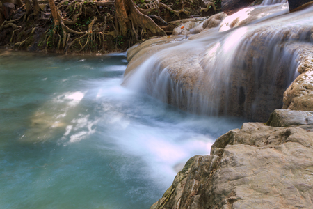 second level of Erawan Waterfall in Erawan national park in Kanchanaburi, Thailand : one of the most famous place for holidays and relaxing