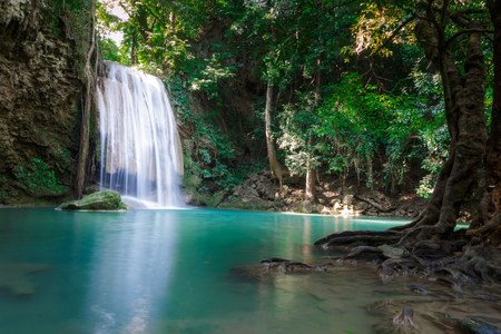 kanchanaburi: third level of Erawan Waterfall in Erawan national park in Kanchanaburi, Thailand : one of the most famous place for holidays and relaxing