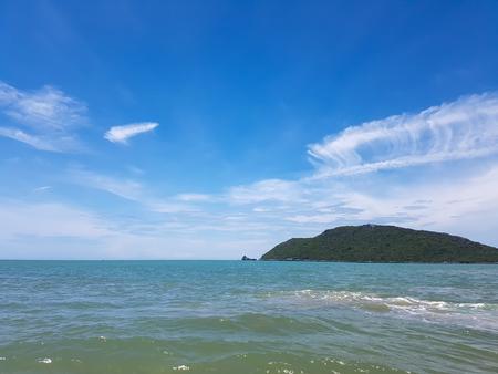 veiw of mountain and sea under blue sky in Sam roi yod nationpark ,Thailand Stock Photo