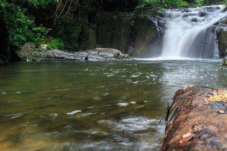fourth level of Pa-la-u waterfall  in rainy season,Hua-hin,Thailand 写真素材 - 132220552