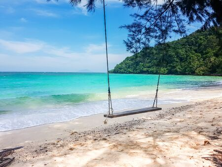 wooden swing hang from tree on beatiful sand beach and blue sea