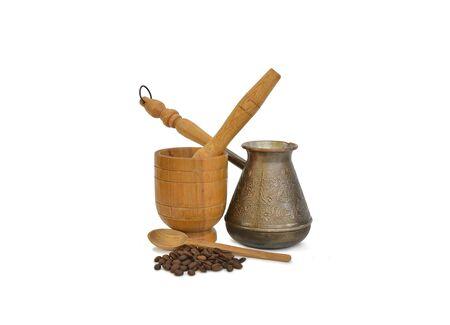 coffee pot: Coffee pot, coffee and mortar Stock Photo