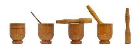 mortero: Wooden mortar, kitchenware Foto de archivo