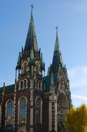 elisabeth: Catholic church of St. Elisabeth the holy Olga and Elisabeth Cathedral, Lviv Stock Photo