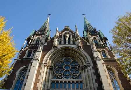 elisabeth: Bottom view on the Catholic church of St. Elisabeth, Church of St. Olha and Elizabeth Stock Photo