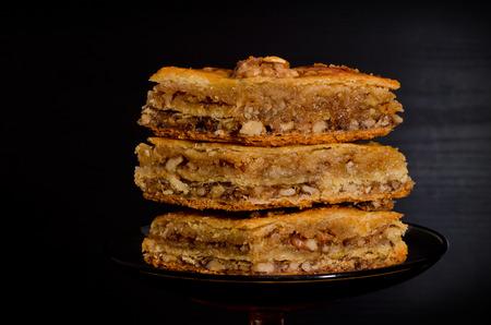 baklava: Honey Baklava, traditional Turkish sweets. Closeup Stock Photo
