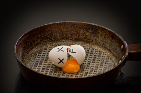 painted face: Broken egg with yolk leaked in a frying pan, painted face
