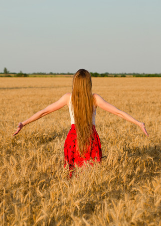 admires: Girl with long hair standing with her back to the wheat field outstretched hands