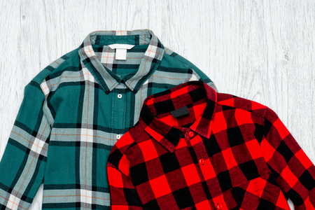Green and red plaid shirts. Fashionable concept