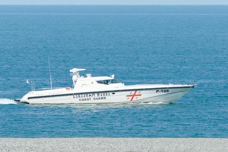 BATUMI, GEORGIA - 11 JULY 2017: Coast Guard patrols the coast Editorial