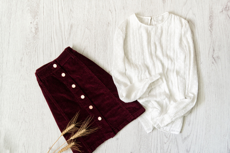 Burgundy suede skirt and white blouse. Fashionable concept. 免版税图像