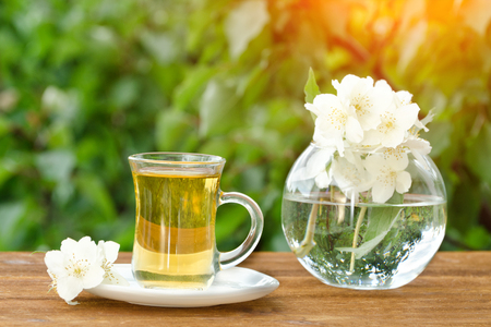 Transparent mug of tea and a vase with jasmine. Greens on the background, sunlight