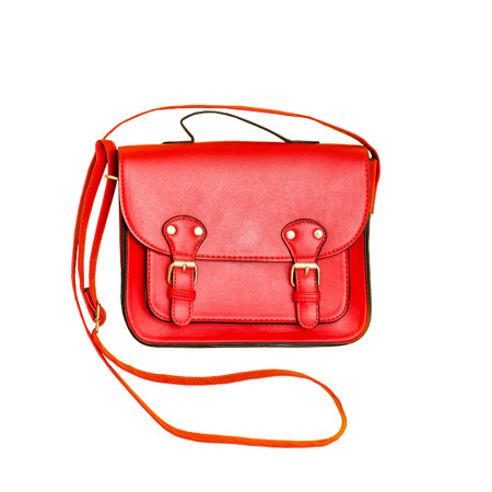 Red handbag. Fashionable concept. Isolated. White background Фото со стока