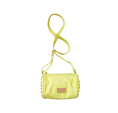 Light green handbag. Fashionable concept. Isolated. White background Stock Photo