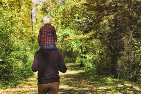 Father with son on his shoulders walking in the autumn forest. Back view Stock Photo