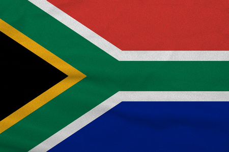 Flag of the South Africa from the factory knitted fabric. Backgrounds and Textures.