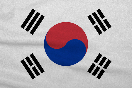Flag of the South Korea from the factory knitted fabric. Backgrounds and Textures. Imagens - 121168953