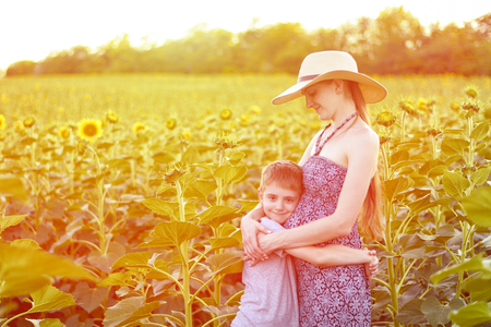 Happy small son embraces pregnant mother standing on a sunny field of blooming sunflowers. 版權商用圖片