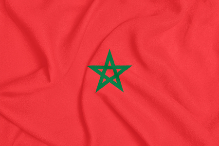 Flag of Morocco on textured fabric. Patriotic symbol