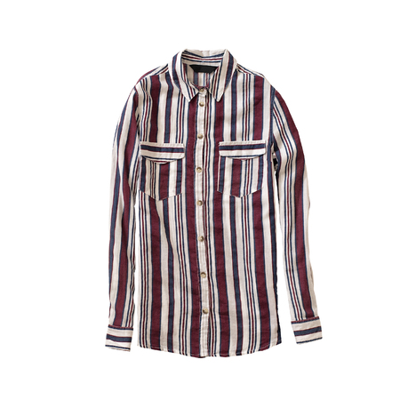 Coloured striped shirt. Isolate. White background. Fashionable concept