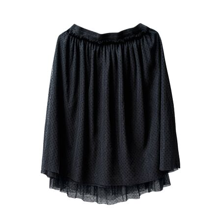 Black tulle skirt on white background. Isolate