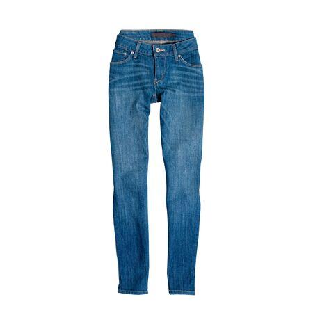 Niebieskie dżinsy na białym tle. Koncepcja mody Zdjęcie Seryjne