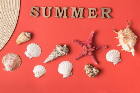 Word Summer from wooden letters. Seashells, starfish and a live coral background. Flat lay. Marine concept