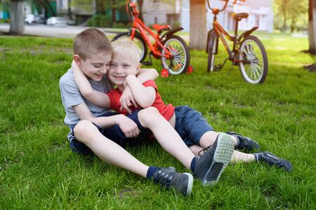 Two laughing boys having fun on the grass. Bicycles in the background Banco de Imagens