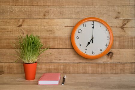 Round clock on a brown wall, green houseplant and a blank sheet of paper with a pen. Business planning