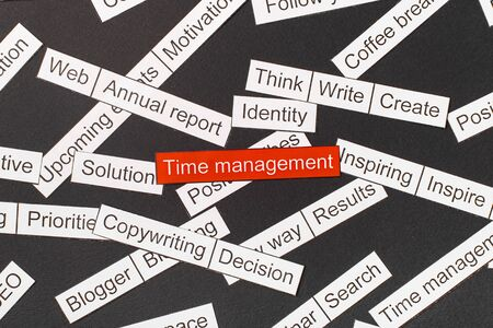 Cut paper inscription time management on a red background, surrounded by other inscriptions on a dark background. Word cloud concept