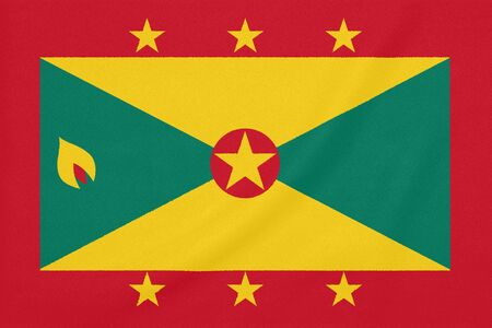Flag of Grenada on textured fabric. Patriotic symbol Stock fotó
