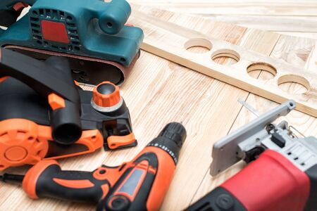 Set Of Handheld Woodworking Power Tools For Woodworking And Workpiece