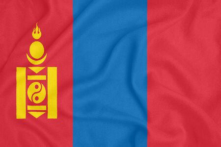 Flag of Mongolia on textured fabric. Patriotic symbol