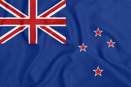 Flag of New Zealand on textured fabric. Patriotic symbol Stock fotó