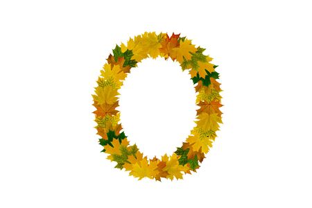 Letter O from autumn maple leaves. Alphabet from green, yellow and orange leaves.