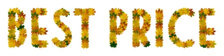 Phrase Best price of yellow, green and orange maple autumn leaves close-up. Isolate on white background. Stock Photo