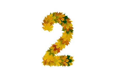 Digit 2 from autumn maple leaves isolated on white background. Alphabet from green, yellow and orange leaves. Stock Photo