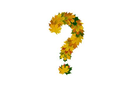 Question mark from autumn maple leaves isolated on white background. Alphabet from green, yellow and orange leaves.