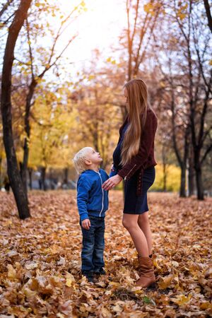 Little blond boy and his pregnant moms belly. Autumn park on the background Stock Photo