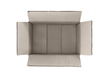 Empty open cardboard box on white background. Delivery concept. Isolate. Top view Фото со стока