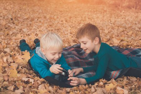 Two little brothers look at pictures on the camera. Lying in yellow autumn leaves. Fall day