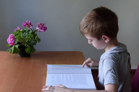 Schoolboy reading a book with interest. Home interior