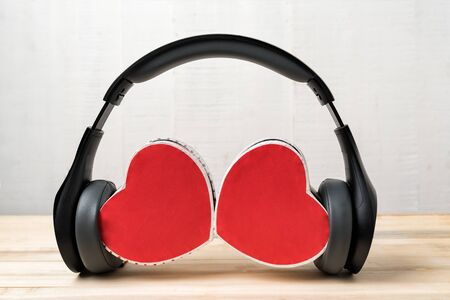Wireless stereo headset and two heart shape box. Listen to your heart.