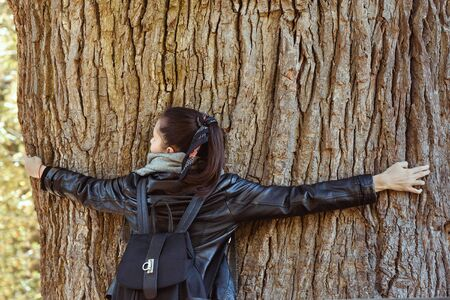 Woman hugging huge tree trunk. Perennial tree. Power of nature, ecology. Back view