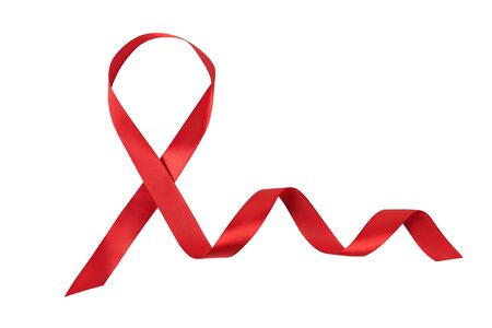 Red ribbon isolated on white background. Aids control symbol. Directly above. Banco de Imagens