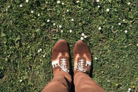 Man stands on lawn in brown sneakers, trainers. First person. Top view.
