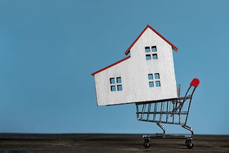 Home in the shopping cart. Buying a house mortgage concept. Blue background